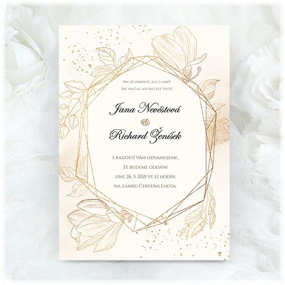 Krémové svatební oznámení
