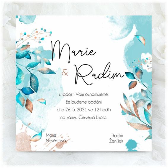 Turquoise wedding invitation