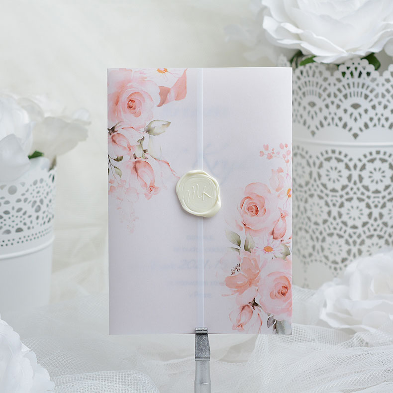 Wedding invitation with white seal