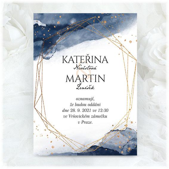 Modré akvarelové svatební oznámení