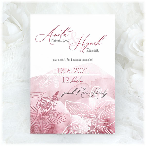 Akvarelové svatební oznámení