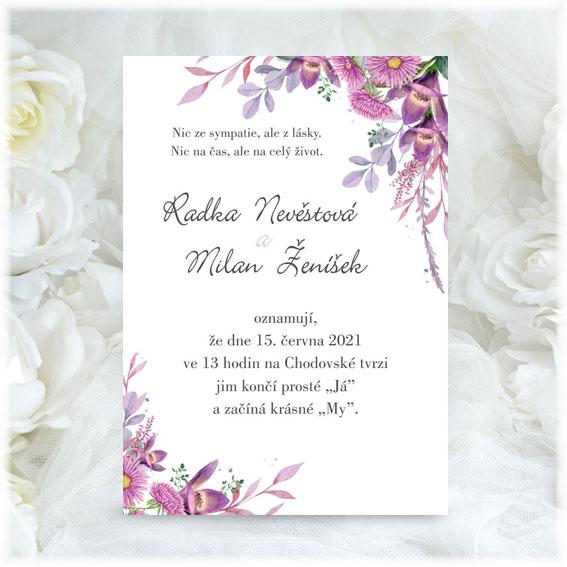 Svatební oznámení s květinami