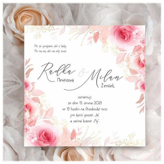 Svatební oznámení s růžemi
