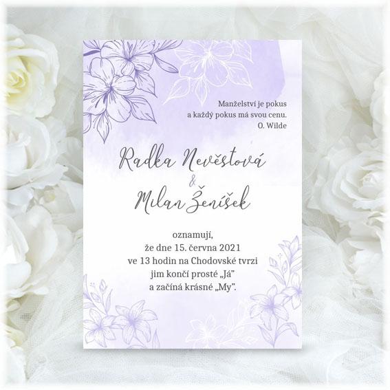 Lila svatební oznámení