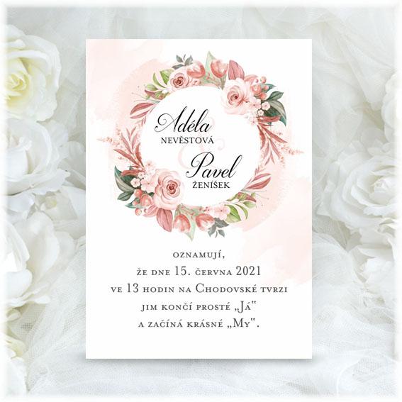 Květinové svatební oznámení