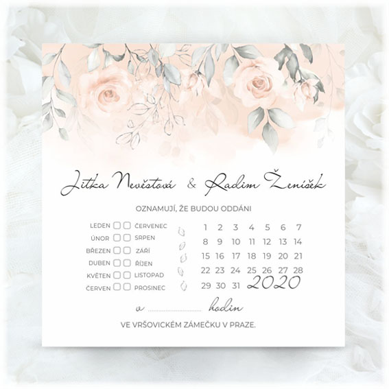 Delicate pink wedding invitation with calendar