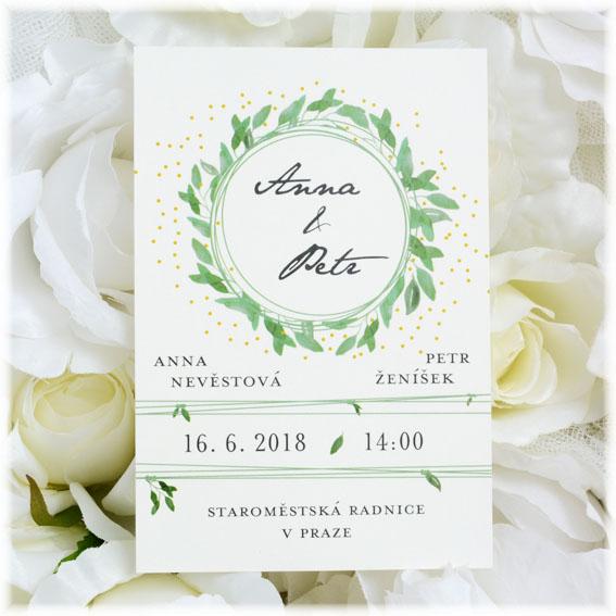 Svatební pozvánky s listy