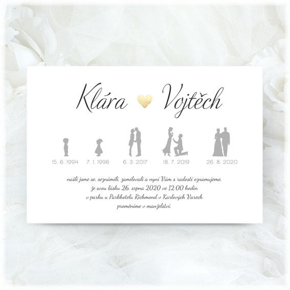 Wedding invitation with timeline and golden heart