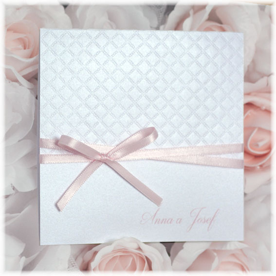 Pearl wedding invitation with a pink bow