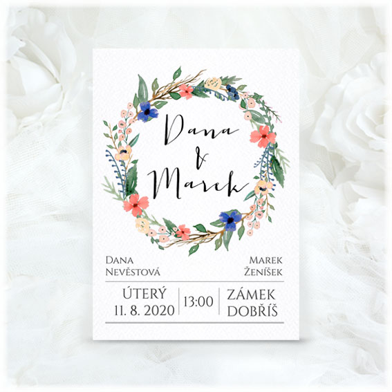 Wedding invitation with Flower Wreath
