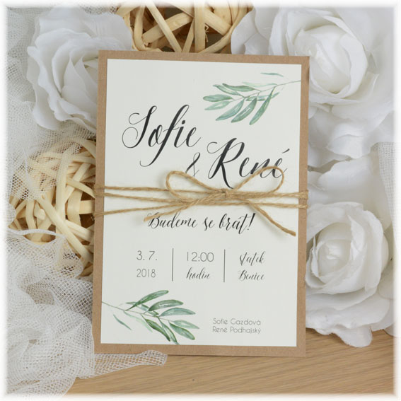 Wedding invitation with string