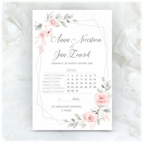 Wedding invitation calendar watercolor