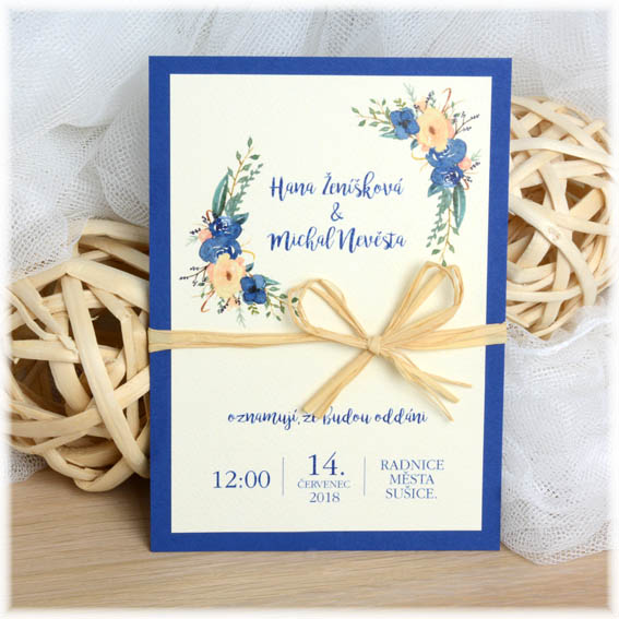 Wedding invitation with jute