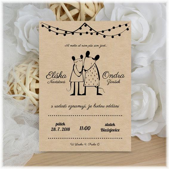Hravé svatební oznámení s myškama