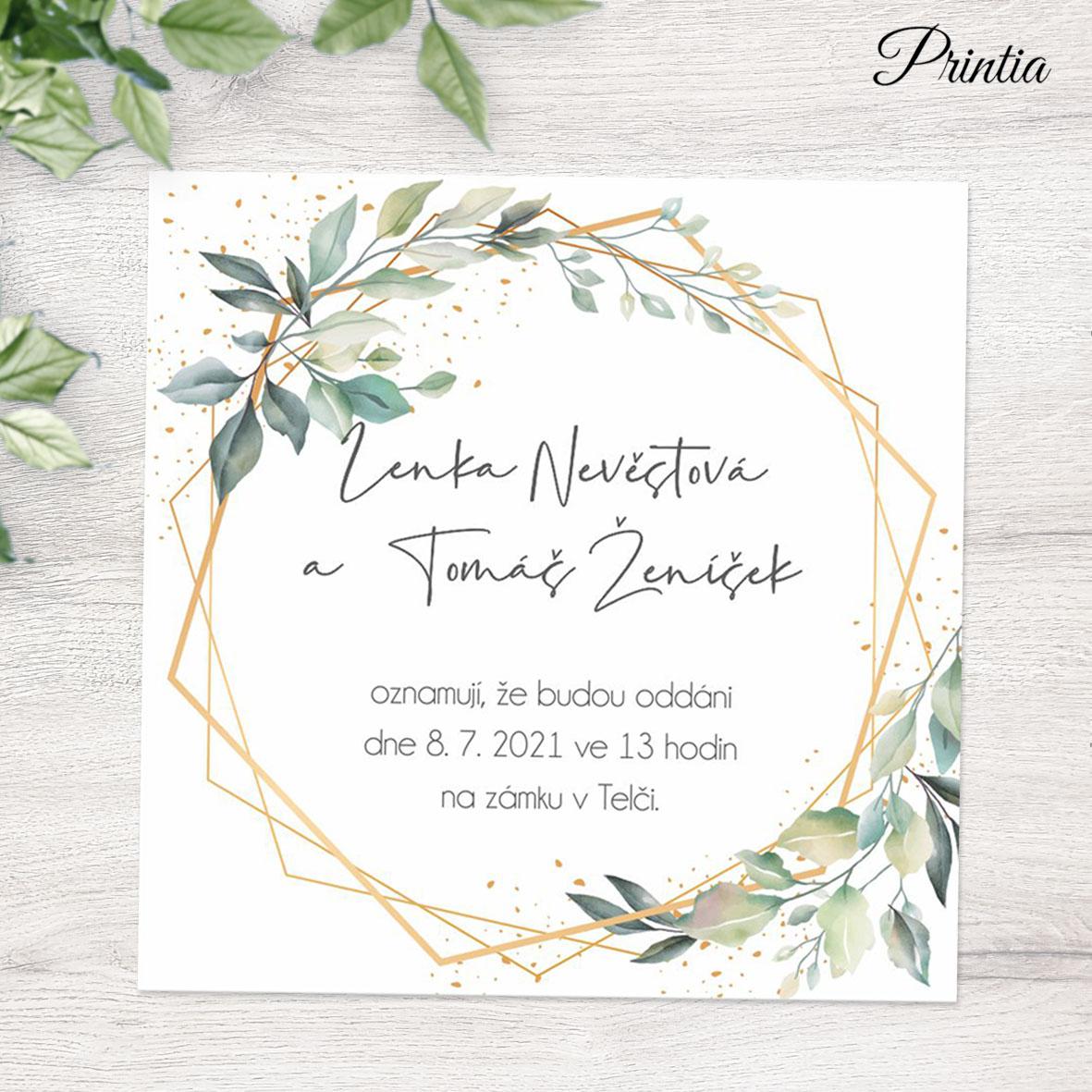 Geometeric wedding invitation