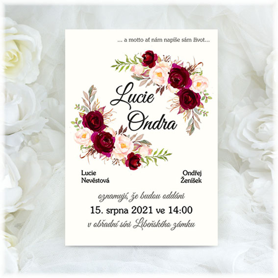Natural Floral wedding invitation with flowers