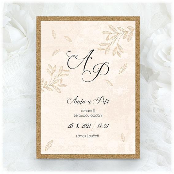 Krémové svatební oznámení s podlepem