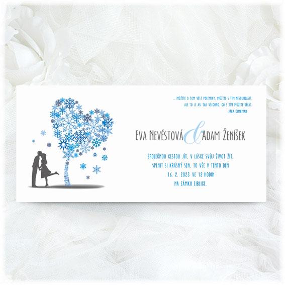 Zimní svatební oznámení strom ze sněhových vloček s párem