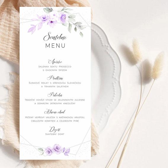 Svatební menu s lila akvarelovými květinami