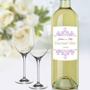 svatební víno tisk etiket