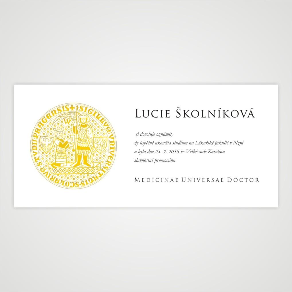Promoční oznámení se zlatým logem