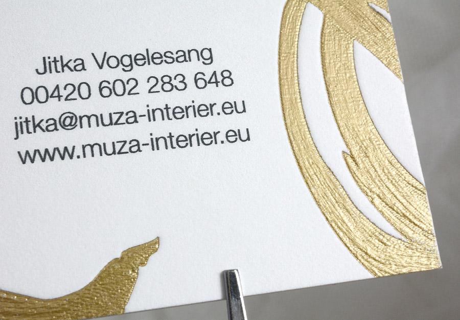 vizitka luxusní zlatý slepotisk