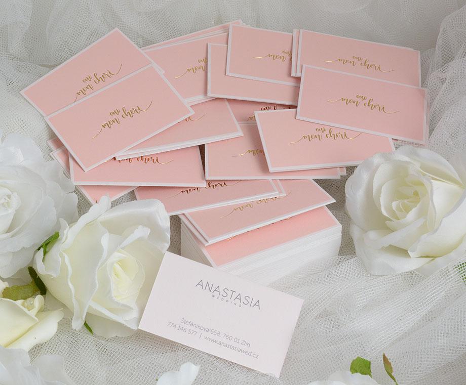 ručně ražené růžové vizitky