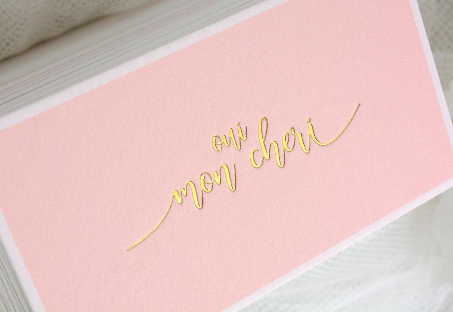 bavlněné vizitky růžové ražené zlatě
